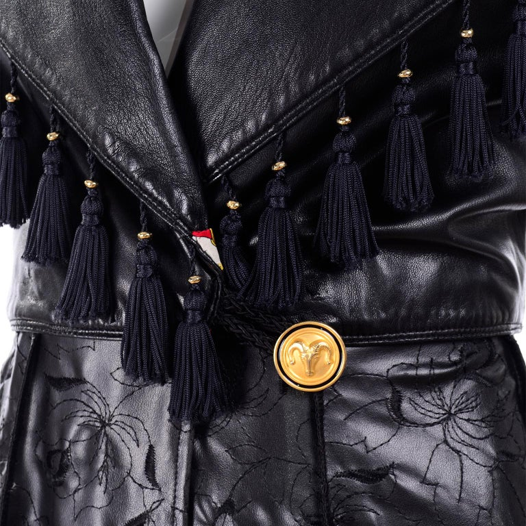 Vintage Gianni Versace Leather Coat With Tassels and Silk Scarf Print Lining For Sale 6