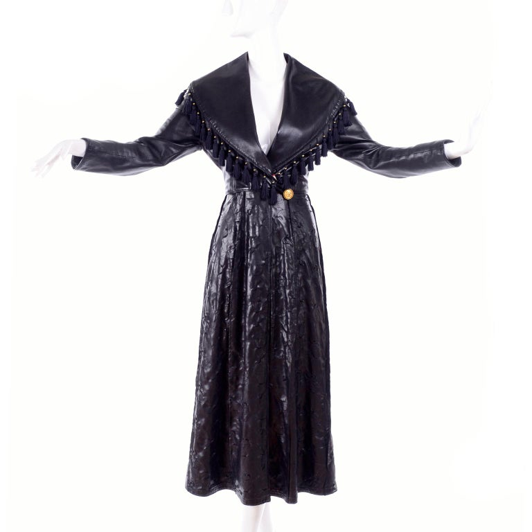Black Vintage Gianni Versace Leather Coat With Tassels and Silk Scarf Print Lining For Sale