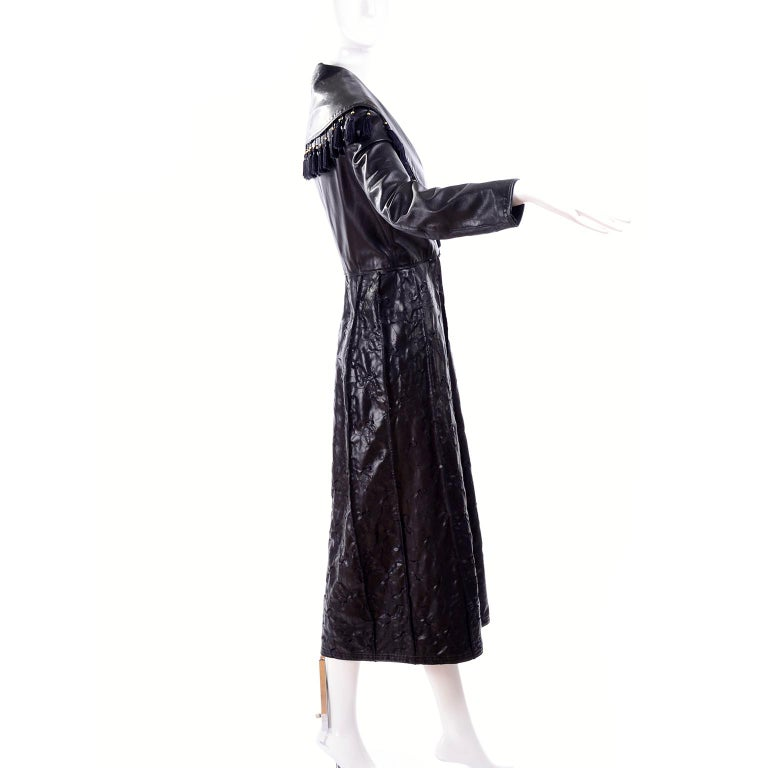 Vintage Gianni Versace Leather Coat With Tassels and Silk Scarf Print Lining In Excellent Condition For Sale In Portland, OR