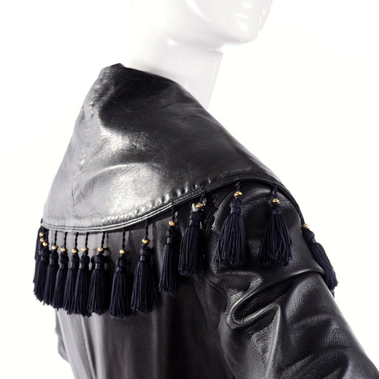 Women's Vintage Gianni Versace Leather Coat With Tassels and Silk Scarf Print Lining For Sale