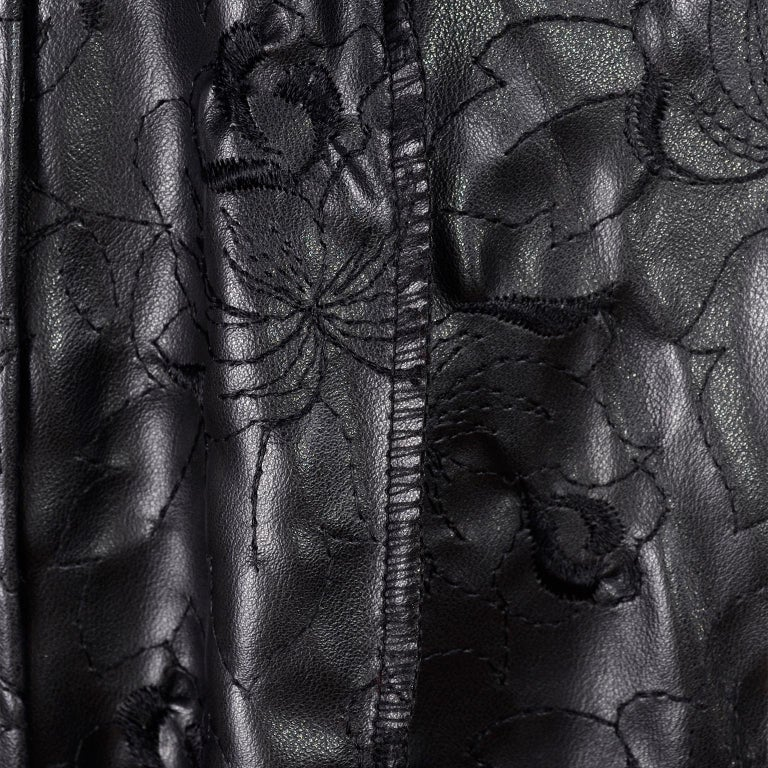 Vintage Gianni Versace Leather Coat With Tassels and Silk Scarf Print Lining For Sale 1