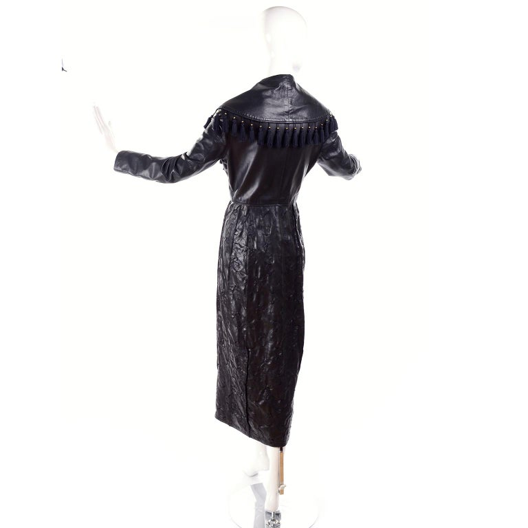 Vintage Gianni Versace Leather Coat With Tassels and Silk Scarf Print Lining For Sale 4