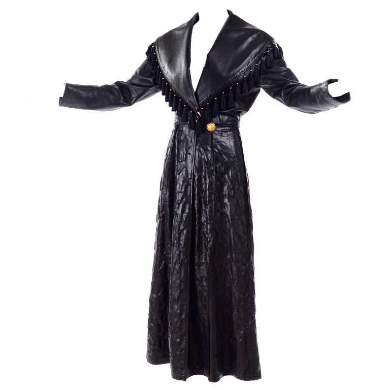 Vintage Gianni Versace Leather Coat With Tassels and Silk Scarf Print Lining For Sale
