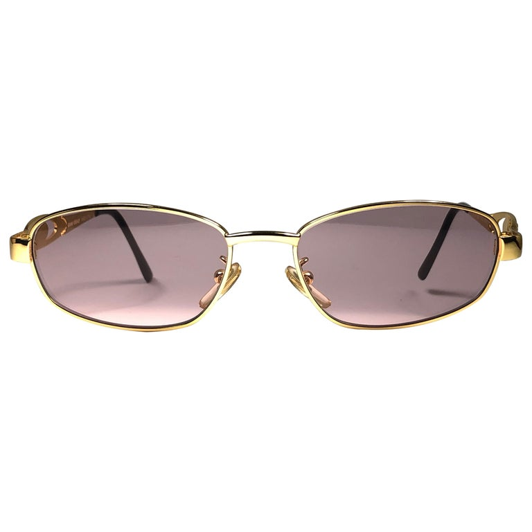Vintage Gianni Versace Mod S80 Oval Small Sunglasses 1990's Made in Italy For Sale