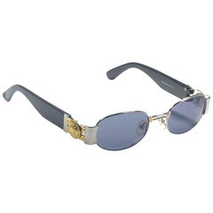 Vintage Gianni Versace Mod S80 Oval Small Sunglasses 1990's Made in Italy