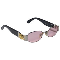 Vintage Gianni Versace Mod S80 Rose Oval Small Sunglasses 1990's Made in Italy