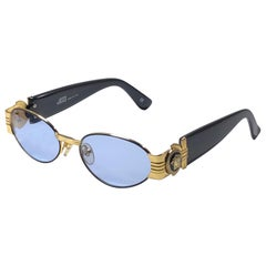 Vintage Gianni Versace Mod S81 Blue Oval Small Sunglasses 1990's Made in Italy