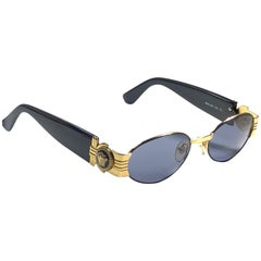 Vintage Gianni Versace Mod S81 Oval Small Sunglasses 1990's Made in Italy
