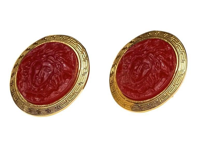 Women's Vintage GIANNI VERSACE Red Medusa Greek Keys Medallion Disc Earrings For Sale