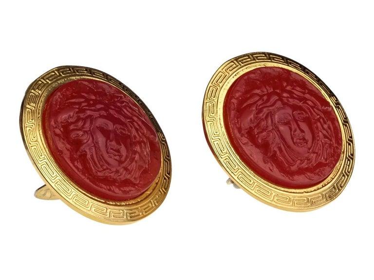 Vintage GIANNI VERSACE Red Medusa Greek Keys Medallion Disc Earrings For Sale 1