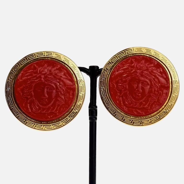 Vintage GIANNI VERSACE Red Medusa Greek Keys Medallion Disc Earrings For Sale 2