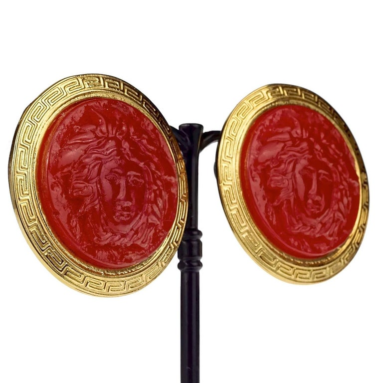Vintage GIANNI VERSACE Red Medusa Greek Keys Medallion Disc Earrings For Sale 3