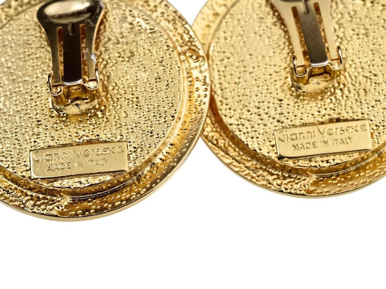 Vintage GIANNI VERSACE Red Medusa Greek Keys Medallion Disc Earrings For Sale 4