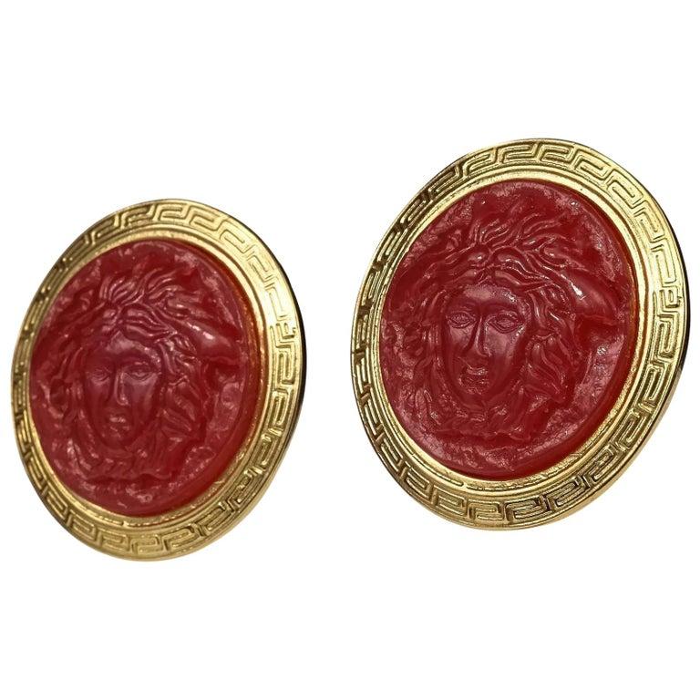 Vintage GIANNI VERSACE Red Medusa Greek Keys Medallion Disc Earrings For Sale