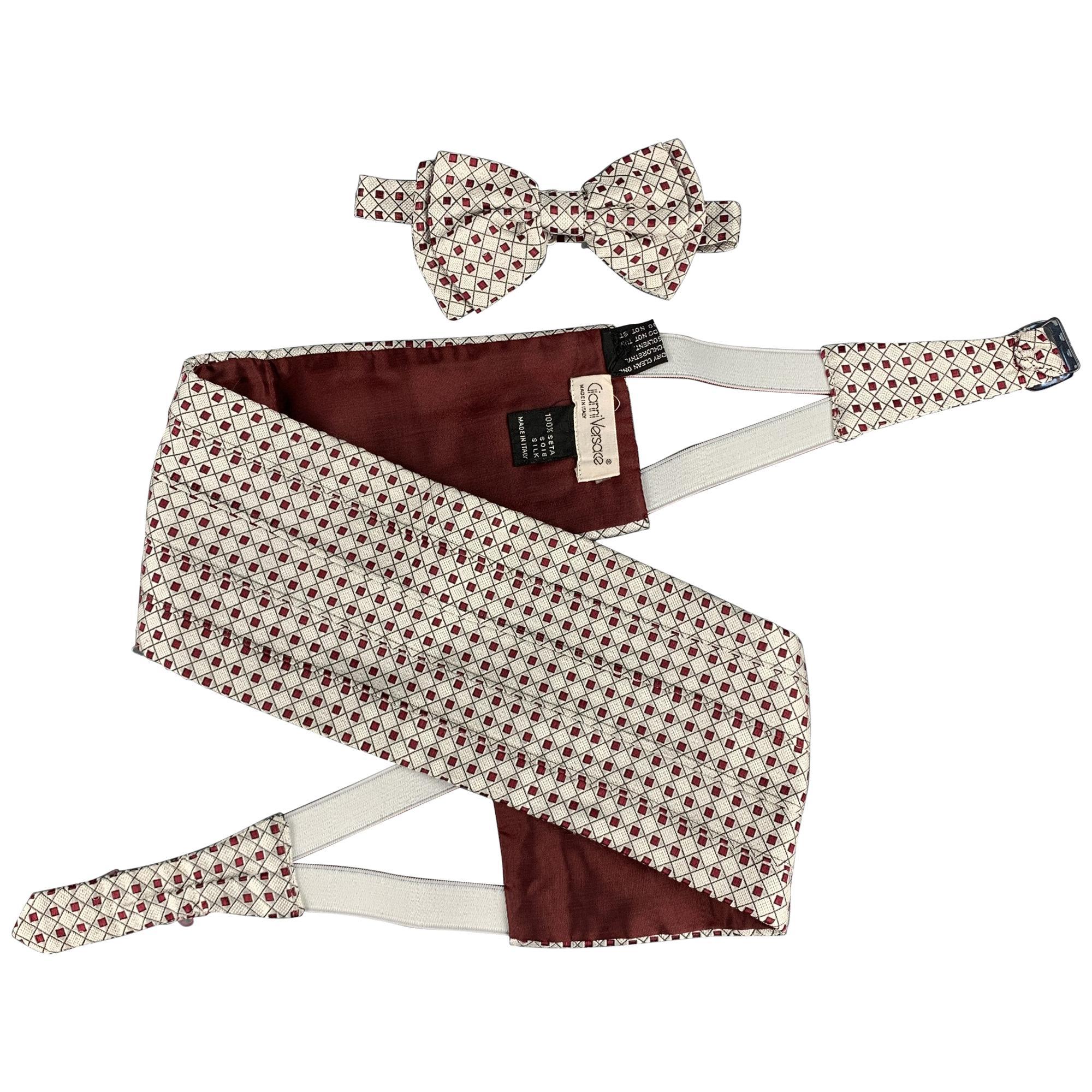 Vintage GIANNI VERSACE Silver & Burgundy Woven Silk Cummerbund & Bow Tie Set