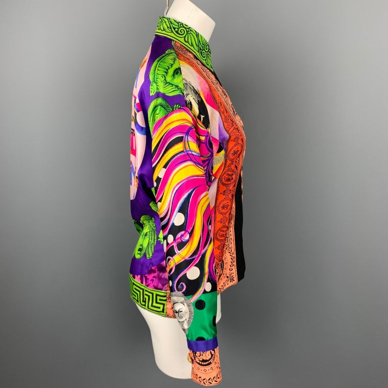 Pink Vintage GIANNI VERSACE Size S Multi-Color Baroque Silk Gold Blouse For Sale