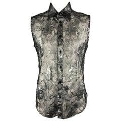 Vintage GIANNI VERSACE Size XXL Silver & Black Lace Silk Blend Button Up