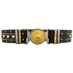 Vintage GIANNI VERSACE Studded Size 32 Black Leather Belt