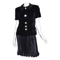 Vintage Gianni Versace Velvet Jacket, Pleated Skirt Ensemble