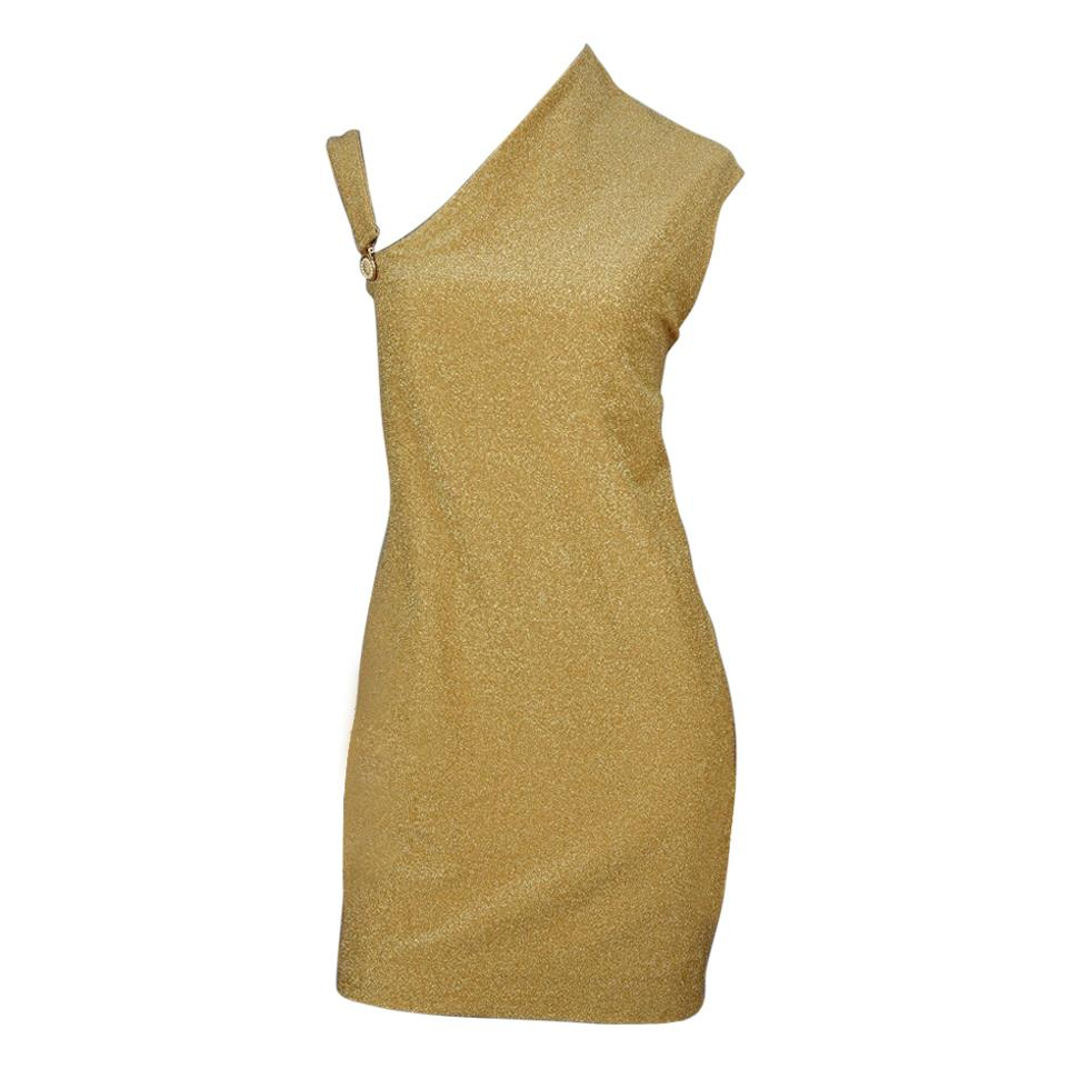 Vintage GIANNI VERSACE VERSUS Asymmetric Shoulder Lurex Gold Metallic Dress
