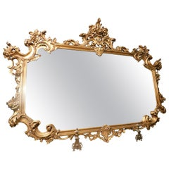 Vintage Gilded and Richly Carved Mirror, Rectangular, 20th Century Italy