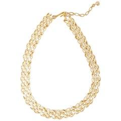 Vintage Gilded Basket Weave Choker Necklace by Crown Trifari, 1950s