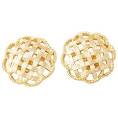 Vintage Gilded Basket Weave Earrings by Crown Trifari, 1950s