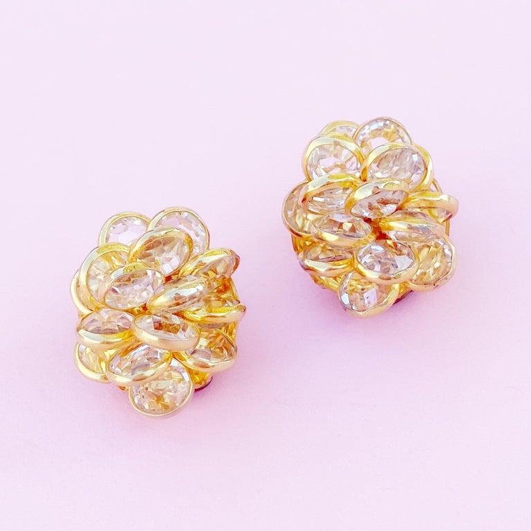 Modern Vintage Gilded Bezel Set Austrian Crystal Cluster Earrings, 1980s For Sale