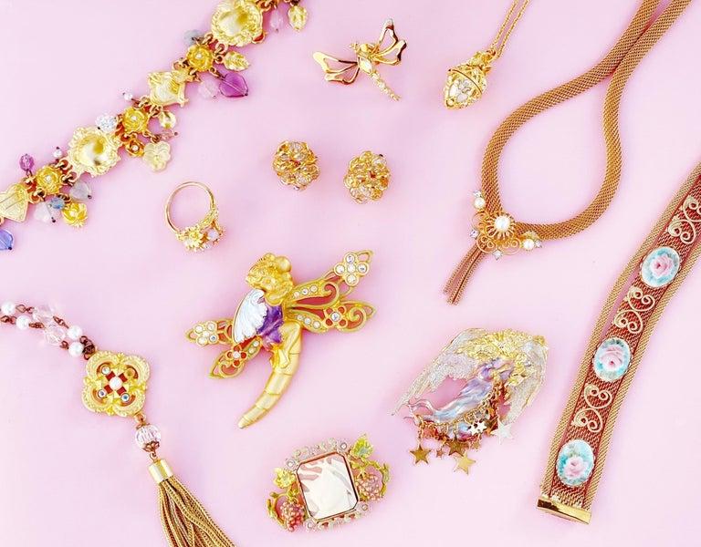 Vintage Gilded Bezel Set Austrian Crystal Cluster Earrings, 1980s For Sale 2