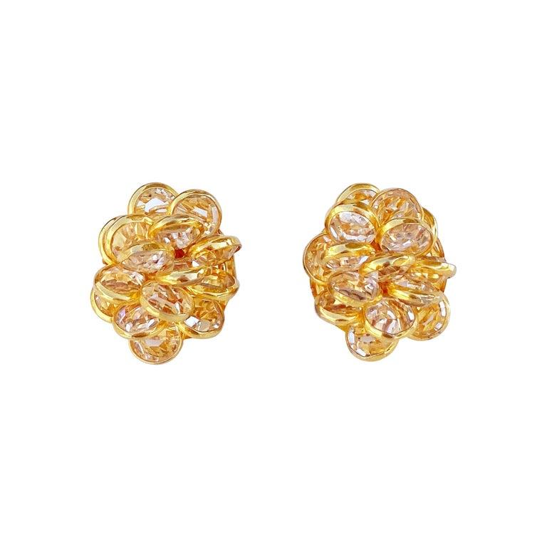 Vintage Gilded Bezel Set Austrian Crystal Cluster Earrings, 1980s For Sale
