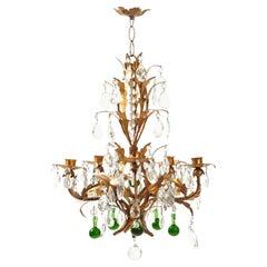 Vintage Gilded Crystal Chandelier
