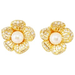 Vintage Gilded Crystal Pavé & Pearl Flower Earrings by Nolan Miller, 1980s