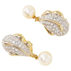 Vintage Gilded Crystal Pavé Statement Earrings with Drop Pearl, 1980s