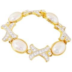 "Vintage Gilded Crystal & Pearl ""XOXO"" Bracelet by Nolan Miller, 1990s"
