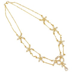 Vintage Gilded Crystal Rhinestone Flower Draped Chain Necklace By Monet, 1970s
