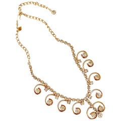 """Vintage Gilded """"Enchantress"""" Rhinestone Swirl Necklace By Sarah Coventry, 1970s"""