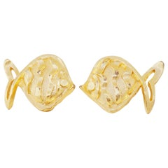 Vintage Gilded Fish Figural Earrings by Hanae Mori, 1970s