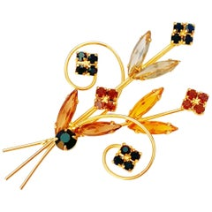 Vintage Gilded Flower Bouquet Brooch with Topaz and Garnet Crystals, 1950s