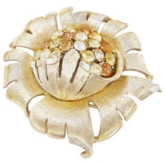 Vintage Gilded Flower Brooch with Topaz Crystals by Coro, 1960s