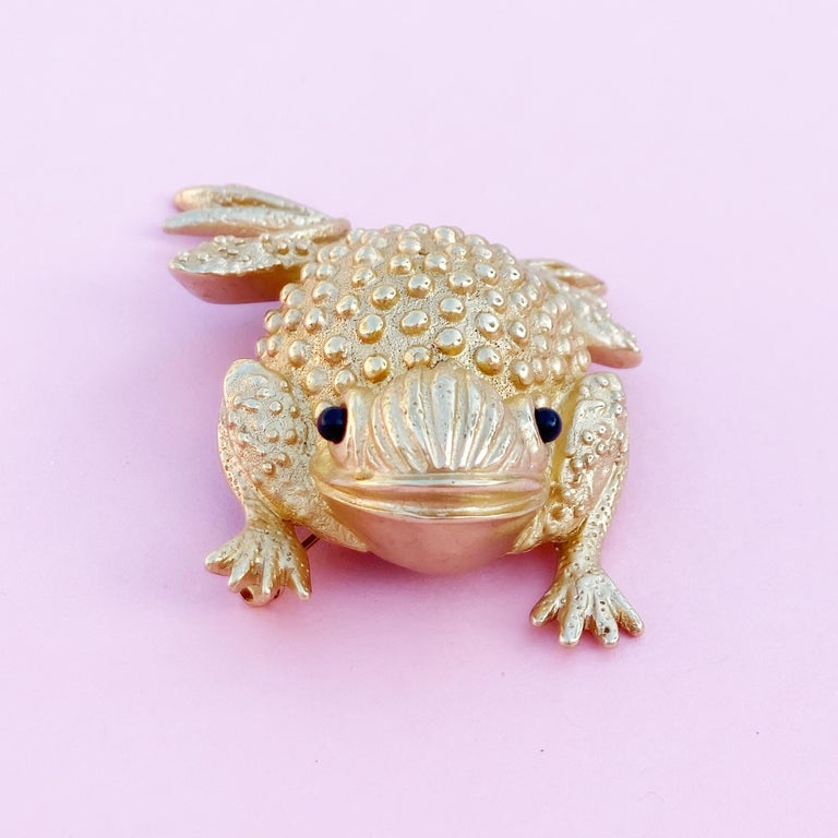 Modern Vintage Gilded Frog Figural Brooch by Erwin Pearl, 1990s For Sale