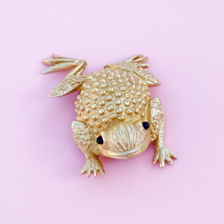 Women's Vintage Gilded Frog Figural Brooch by Erwin Pearl, 1990s For Sale