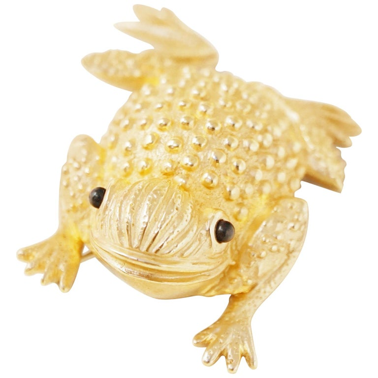 Vintage Gilded Frog Figural Brooch by Erwin Pearl, 1990s For Sale