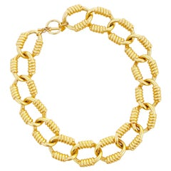 Vintage Gilded Heavy Chain Link Statement Choker Necklace By Anne Klein, 1980s