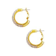 Vintage Gilded Hoop Earrings With Crystal Rhinestone Pavé, 1980s