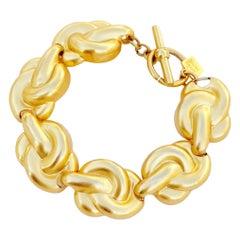 Vintage Gilded Knot Link Bracelet By Anne Klein, 1980s