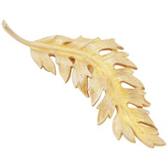 Vintage Gilded Leaf Brooch by Coro, 1960s