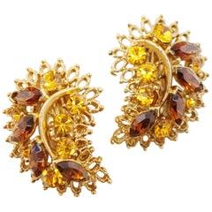 Vintage Gilded Leaf Climber Earrings with Topaz Crystal Rhinestones, 1960s