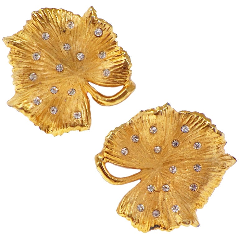 Vintage Gilded Leaf Earrings with Crystal Accents by Claudette, circa 1950s For Sale