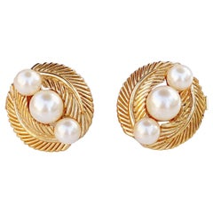 Vintage Gilded Leaves and Pearls Button Earrings By Crown Trifari, 1960s