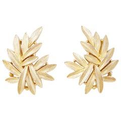 Vintage Gilded Leaves Statement Earrings by Crown Trifari, 1950s